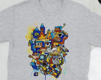 Funky Doodle by Mr. Mizu on Short-Sleeve Men's / Women's Sport Gray T-Shirt - Abstract Art on Clothing