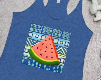 Wasabi Watermelon on Women's Racerback Tank