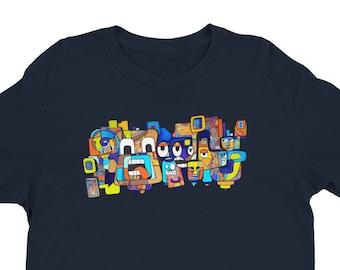 13 Faces by Mr. Mizu on Navy Blue Short Sleeve T-shirt - Men's / Women's Shirt Art on Clothing