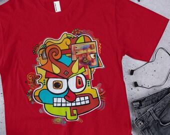 Demon Doodle by Mr. Mizu on Red T-Shirt - Men's / Women's Shirt - All Sizes