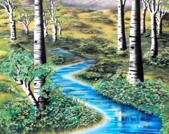 Aspens Reflected - Print of Nature Landscape Art by Mizu