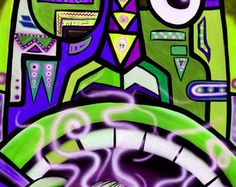 Mr. Phonky Face II  - Print of Surreal Abstract Tribal Art