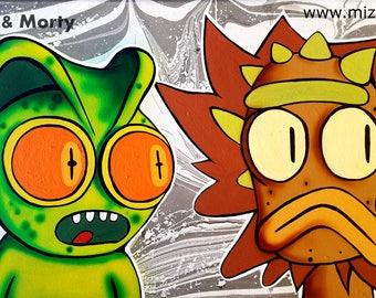 Lizard Rick & Morty - Surreal Pop Art Poster Print of Painting by Mizu