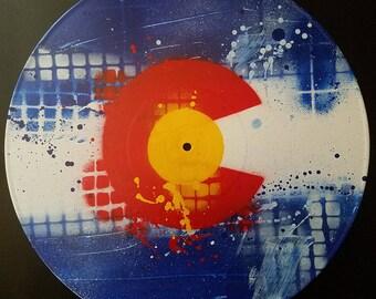 Colorado Flag - Original  Abstract Art on Vinyl Record by Mizu