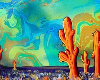 Orange Saguaros  - Print of Surreal Desert Landscape Art by Mizu