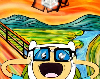 4th Dimensional Bubble - Print of Adventure Time/ The Scream Surreal Pop Art Painting by Mizu