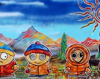Spun Park - Print of Surreal Abstract South Park Landscape Painting by Mr Mizu
