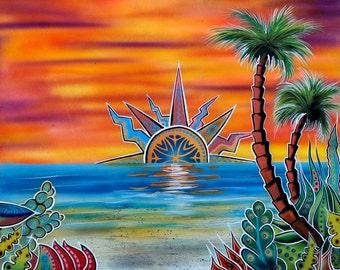 Ocean Beach  - Surreal Tropical Landscape Print