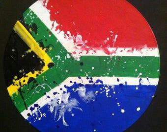 South Africa Flag -  Abstract Original Painting- Handmade Art on Vinyl Record by Mr Mizu