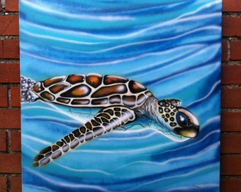 Sea Turtle  - Original Ocean Animal Painting by Mr.Mizu
