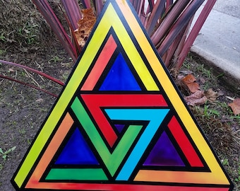 SALE_ Double Penrose Triangle  - Original Abstract Optical Illusion Painting by Mr.Mizu