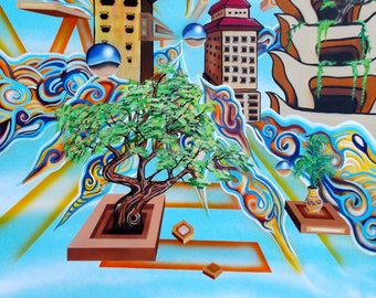 Enlightenment  - Print of Surreal Abstract  Landscape Painting by Mizu Tibet Nepal Himalayan Art