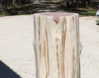 """Cedar Stump Table Base, End or Side Table, 28"""" tall, 3 sizes available, reclaimed Texas Red Cedar, choose paint, stain or finish"""