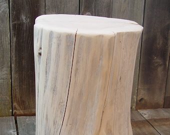 "Tree Stump Side Table, Seat, End Table, 18"" tall, 3 sizes, rustic furniture, whitewashed or gloss white, timber side table, reclaimed wood"