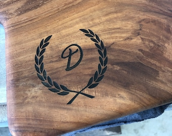 Custom Made to Order Cutting Board, serving tray, laser engraved with family name, business logo, reclaimed Texas Pecan or Mesquite