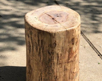 "Rustic Tree Stump End Table, Large Log Side Table, apprx 15"" diameter, 20"" tall, timber end table, tree log, live edge end table, side table"