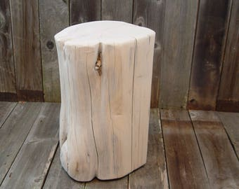 """Outdoor Stool Stump, Tree Stump Side Table, 18"""" tall, outside furniture, whitewashed or gloss white, reclaimed Texas Red Cedar Wood"""