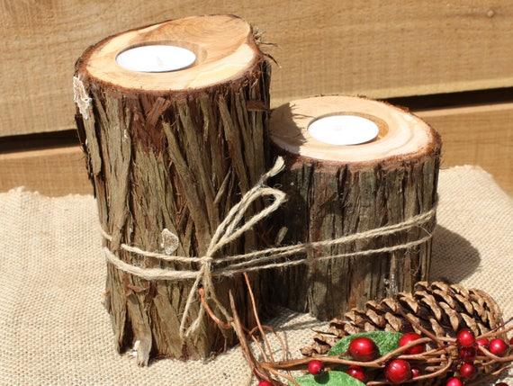 Rustic Wedding Decor Tree Slice Candle Holder Outdoorsy Votive Holder Centerpiece Candle Tree Stump Set Of 2 Wood Slice With Bark