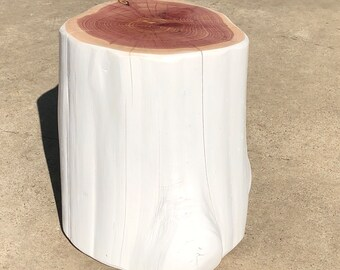"Stump Side Table, Bedroom Side Table, appx 10"" diameter, 13"" tall, matte white + natural top"