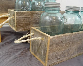 Wood planter box, reclaimed wood, rustic home decor, mason jar holder, pick size, wood planter box, 3 sizes, with rope handle