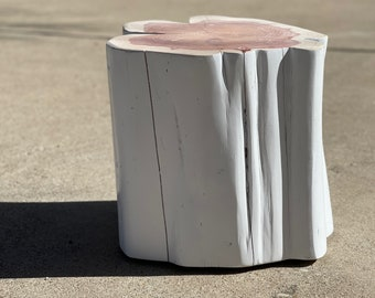 """Tree Stump Side Table, End Table, 16"""" x 15"""" x 15"""" tall, Gloss White, Modern Home Decor, Custom Home Decor, Outdoor Seat, EXACTLY AS SHOWN"""