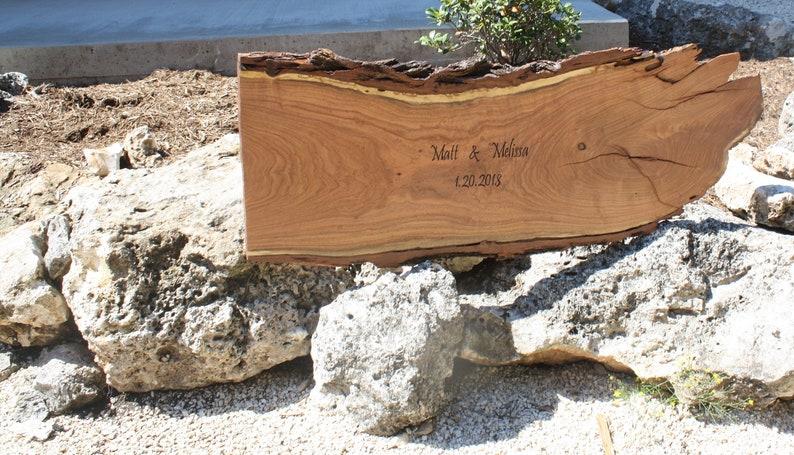 Live Edge Wood Guest Book Signature Log Slice rustic guest image 0