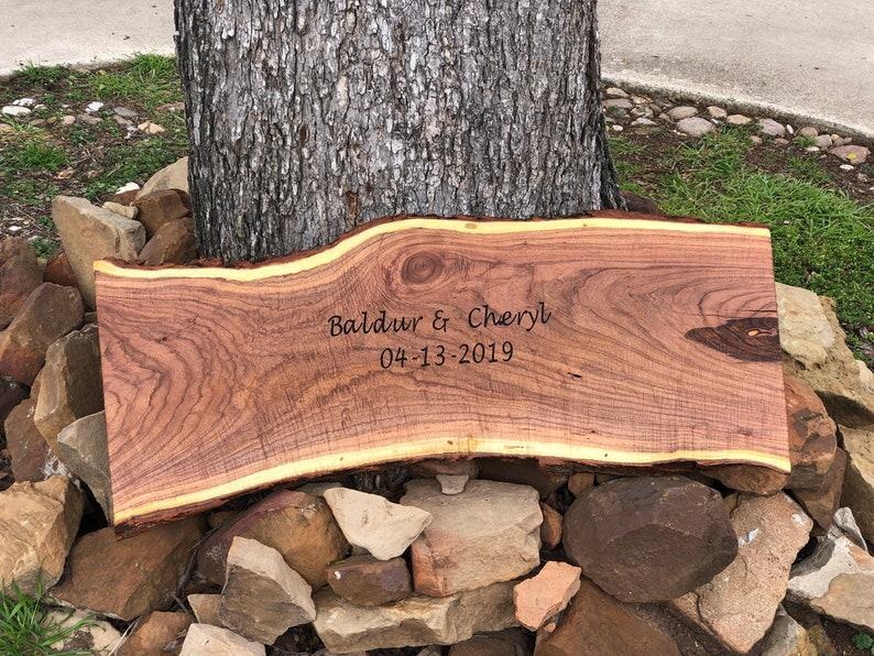 Personalized Wedding Guest Book Alternative Wood Slab Log image 0
