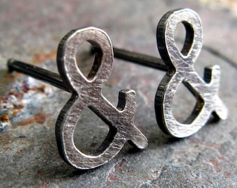 Ampersand post earrings.  Sterling silver, 14k gold filled or solid 14k yellow gold.  Geek jewelry.  Artisan studs.  Smooth or textured.