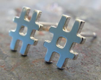 Small Hashtag post earring. Artisan minimalist jewelry. Sterling silver, gold filled or solid 14k gold. Geek studs Social Media gift for her