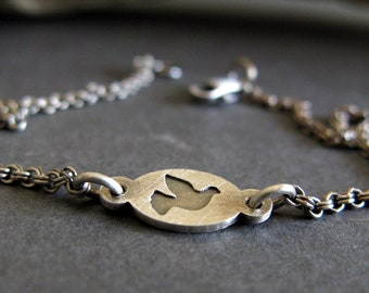 Dainty Dove Chain Bracelet Hand made from sterling silver