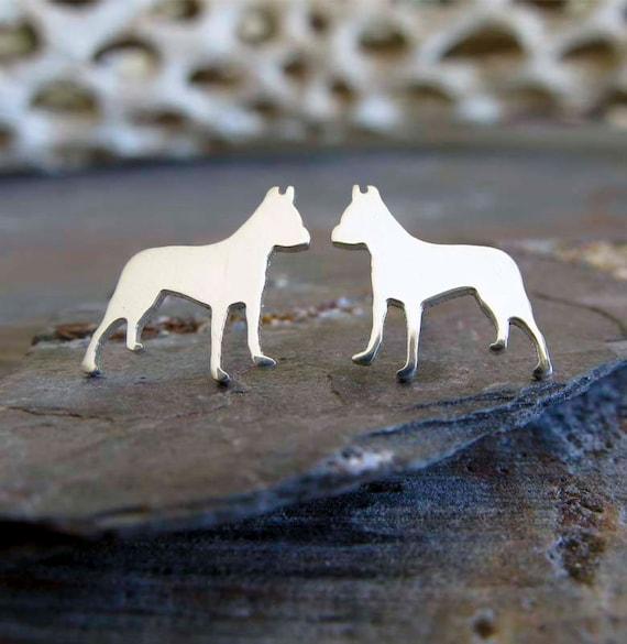 925 Sterling Silver Dog Animal 10x9mm Stud Earrings /& Gift Box