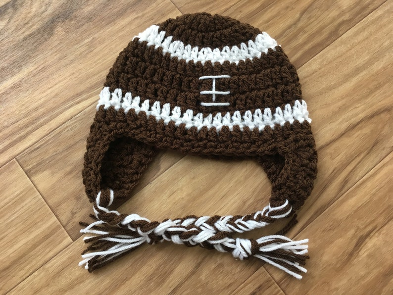 3855f7e47447c Newborn Crochet Football Hat with Ear Flaps