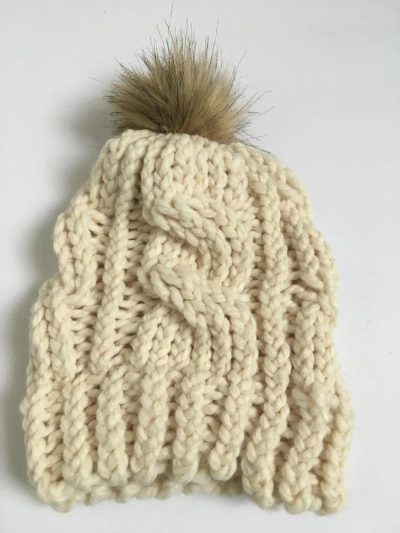 Cream Cable Knit Beanie with Faux Fur Pompom Cable Knit Hat  051a489998c