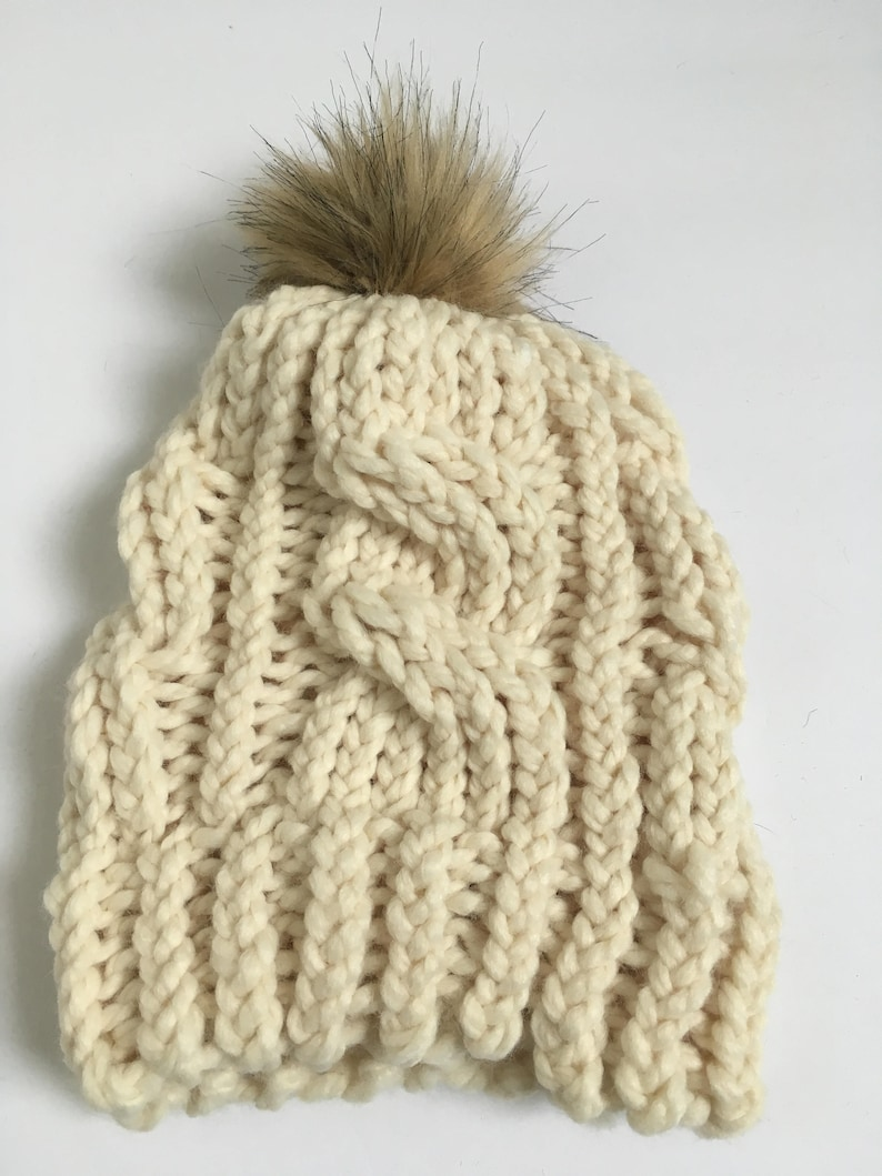 6c813189892 Cream Cable Knit Beanie with Faux Fur Pompom Cable Knit Hat