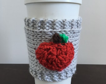 Apple Reusable Coffee Cozy, Apple Reusable Coffee Sleeve, Teachers Gift, Crochet Teachers Gift, Teacher Coffee Cozy, Knit Teachers Gift
