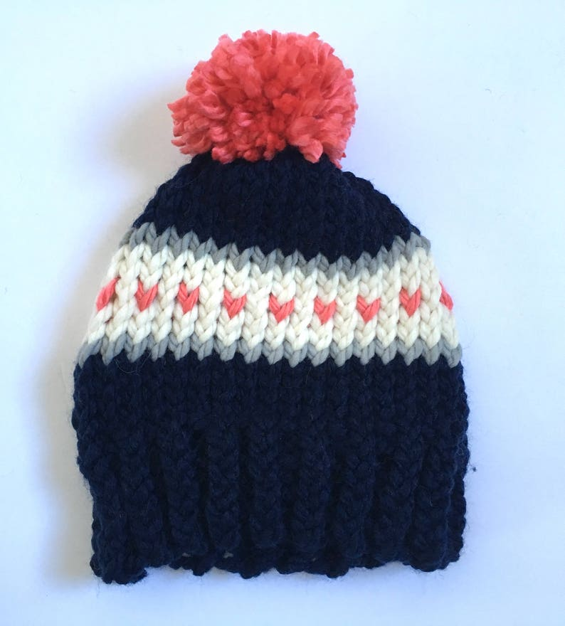 bf218a1d1e64f Navy Hat with Coral Hearts and Pom Pom Knit Winter Hat Knit