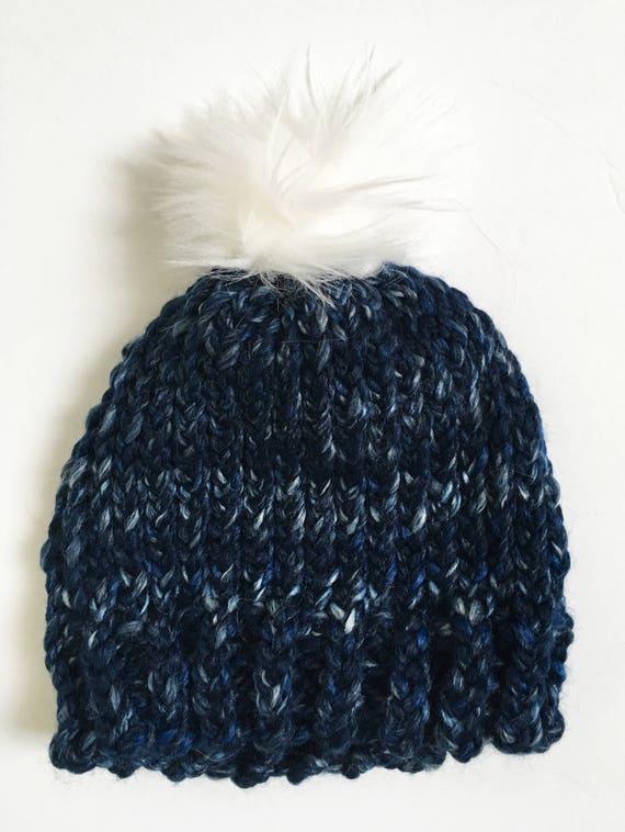 ee31a7a7d93 Blue Toddler Hat with Faux Fur Pompom Toddler Boy s Hat