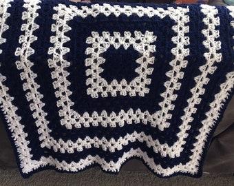 Crochet baby Blanket, Navy and White Baby Blanket, Navy and White Crochet Blanket, Blue Baby Blanket, Granny Square Baby Blanket