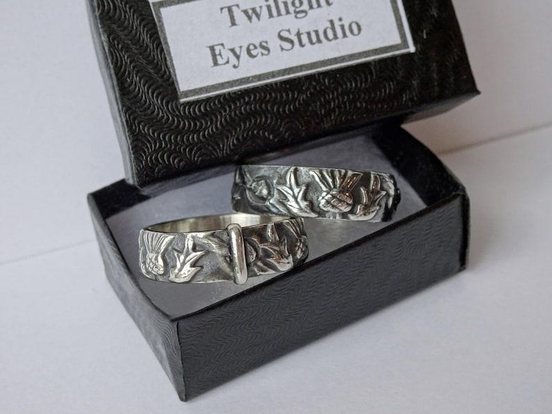 Sporran Key Ring Stackable Antique Engravable Blacksmith Vintage Outlander Wedding Celtic Band Solid Stainless Steel LallyBroch
