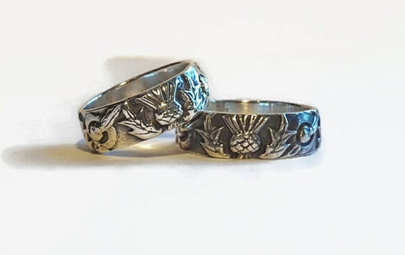 Solid Sterling Thistle Knot /& Circle band