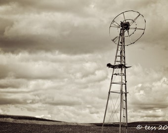 Old Farm Windmill Print - Sepia Farm Print - Sepia Windmill Print - Farm Landscape Photography