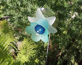 Blue and Frosted White Glass Flower Garden Art