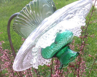Vintage Green and Clear Glass Flower Garden Art