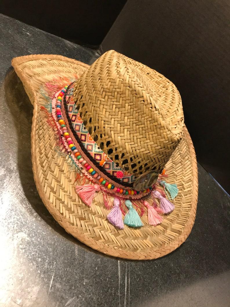 bbfdb55c5 Ibiza Style Decorated Cowboy Beach Sun Hat, Embellished Cowboy Hat, Sun  Hat, Beach Hat, Straw Hat