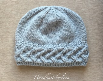 7ae8b57d3fb Instant Download Knitting Pattern Hat with a Fancy Braid on the Border  254