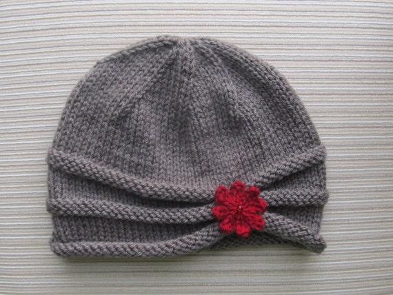 61da340ca5a Knitting Pattern Rolled Brim Hat in Size Adult 87