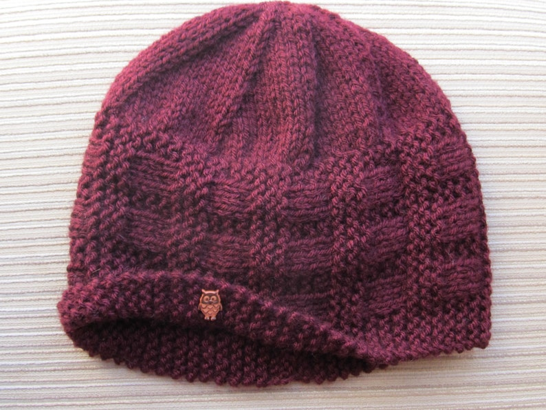 Instant Download Knitting Pattern #92 Burgundy Hat in Size Adult