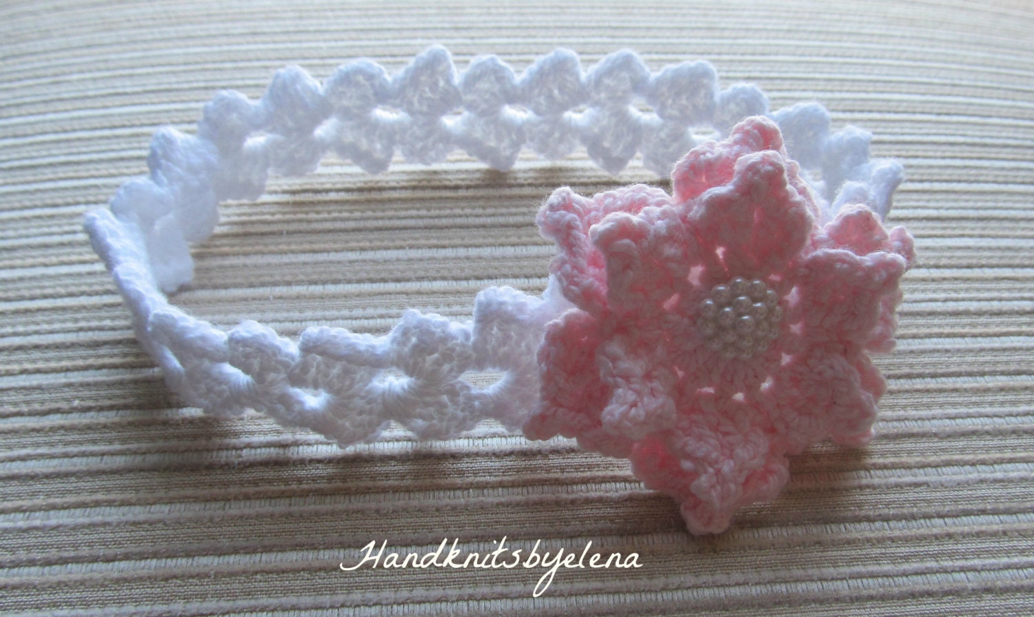 Crochet Pattern #156 Baby Headband with a Pink Rose in sizes 0-3, 3 ...