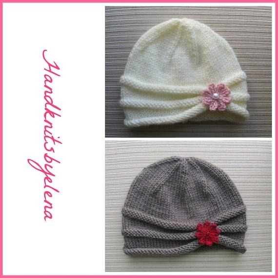 PDF Knitting pattern #85 download instructions   baby girls pink beanie hat