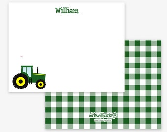 Kids Tractor Note Cards|Personalized Tractor Flat Note Cards|Personalized Tractor Stationery for Kids|Tractor Cards|Kids' Stationery|Farm